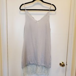 NWOT Silver Scallop Lace Edged Slip Dress